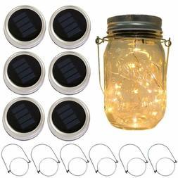 6 Pack Mason Jar Lights 30/20 LED Solar Warm White Fairy Str