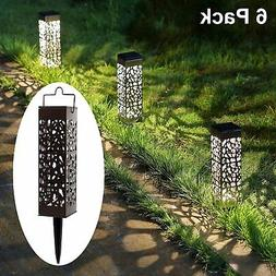 6 Pack Outdoor Solar Pathway Lights Stainless Steel LED Walk