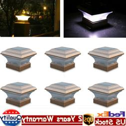 6 Pack Solar Fence Post Cap Light LED Outdoor Garden Copper