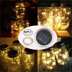 6 Pack Solar Mason Jar Light 20LED Warm White Fairy String L