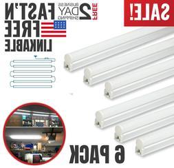 6 Pack T5 LED Shop Lights 4' Linkable 6500K Super Bright Uti