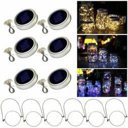 6 Packs Solar Mason Jar Lid Lights 20 LED String Fairy Light