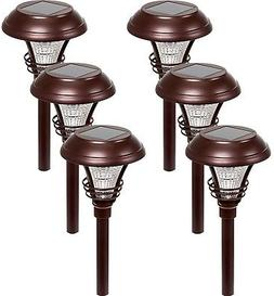 6 Set LED Solar Stake Path Lights Bronze Outdoor Landscape P