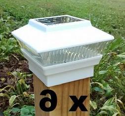 6 solar fence post cap lights white