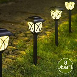 6Pcs Solar Pathway LED Lights Bright Outdoor Garden Landscap