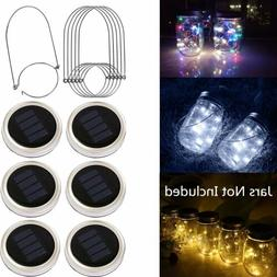 6x Outdoor Solar Powered 20 LED Mason Jar Fairy String Light