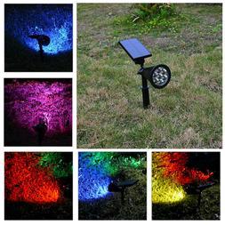 7 LED Solar Spot Lights Color Changing Waterproof Garden Lig