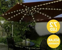 72 LED Solar Garden Parasol Umbrella Chain Light 8 Strut Fai