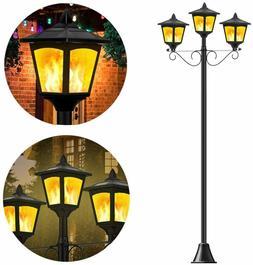 "72"" Solar Post Lights Outdoor Decorative 3 Light Lamp Post w"