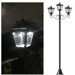 "72"" Street Vintage Outdoor Garden Triple Solar Lamp Post Lig"