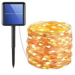 72ft 200 LED_Solar Strip Fairy Copper Wire String Lights Xma