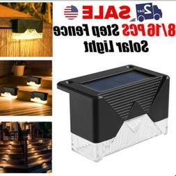 1/16Pcs Solar Powered LED Deck Lights Outdoor Path Garden St