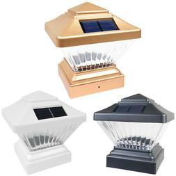 8 Black / Copper / White 4 x 4 Solar Post Deck Cap Fence LED