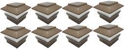 8 Brown Wood Grain Texture 4X4 Solar LED Post Deck Cap Squar
