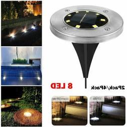 8 LED Solar Buried Floor Lamps Outdoor Pathway Garden Deckin