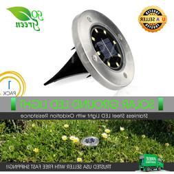 8 LED Solar Ground Lights Disk for Outdoor Garden Deck Path