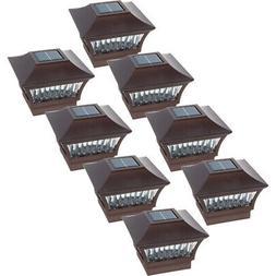 8 Pack GreenLighting Aluminum Solar Post Cap Light- 4x4 Wood