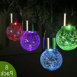 GIGALUMI 8 Pack Hanging Solar Lights Multi-Color Changing Cr