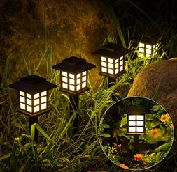 GIGALUMI 8 Pack LED Solar Pathway Lights Outdoor Waterproof