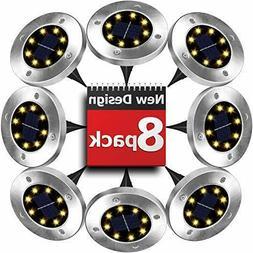 8 Pack Solar Disk Lights 8 LED in Ground Landscape Lighting
