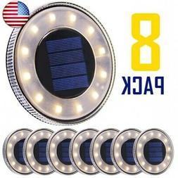 MAGGIFT 8 Pack Solar Disk Lights Outdoor, 12 LED Ground Ligh