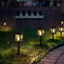 GIGALUMI 8 Pack Solar Hanging Lantern Outdoor, Candle Effect