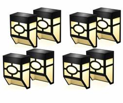 8 pack solar powered wall mount lights