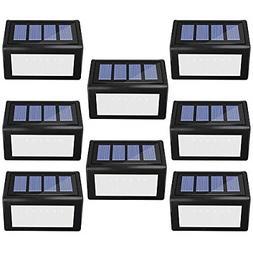 8 Pack Solar Step Lights Outdoor, Deck Lights 6 LED Wireless