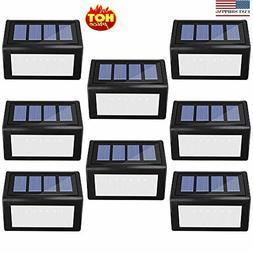 8 Pack Solar Step Lights Outdoor, Solar Deck lights 6 LED Wi