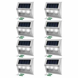 Solar Step Lights Stainless Steel 3 LED Weatherproof Outdoor