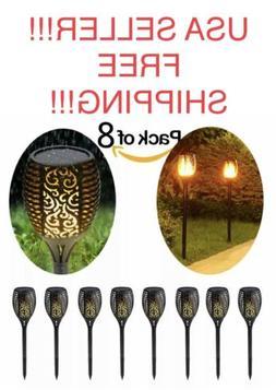 8 Pack Solar Tiki Torch Lights 96LED Flickering Dancing Flam