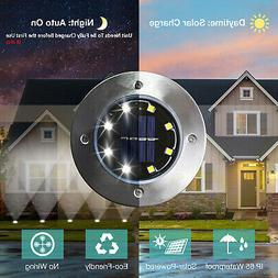 8 Pack White Solar Power 8LED Lights Road Driveway Pathway D