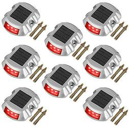 8 pcs solar led marker lights safety