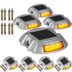 8 PCs Solar LED Marker Lights Safety Light for Pathway Drive