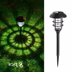 GIGALUMI 8 Pcs Solar Lights Outdoor Pathway, Waterproof Led
