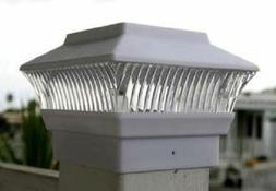4-Pk Garden Solar Light Fence Post Caps - For 4X4 PVC/VINYL/
