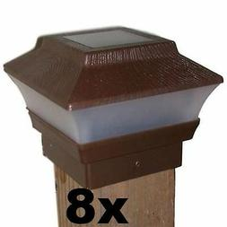 8 Solar Fence Cap Post Lights - Brown Wood Grain - For 4x4 W