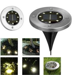 8led solar disk lights ground garden lawn