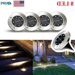 8LED Solar Disk Lights Ground Buried Garden Lawn Deck Path O