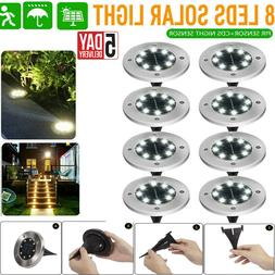 8LED Solar Power Ground Lights Floor Decking Patio Outdoor G