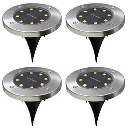 4Pcs 8LED Solar Powered Ground Lights Outdoor lamp Waterproo