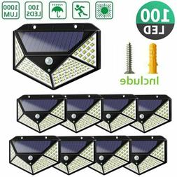 LITOM 8Pack 100 LED Solar Power PIR Motion Sensor Wall Light