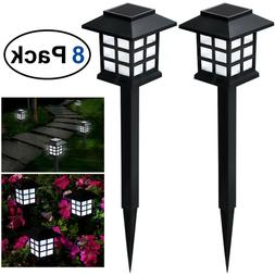 8Pcs Solar Pathway Lights Waterproof LED Outdoor Garden Land
