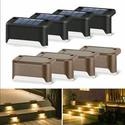 8Pcs Solar Power LED Deck Lights Outdoor Pathway Garden Stai
