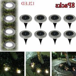 8Pc 12LED Solar Floor Light Outdoor Garden Yard Pathway Lamp