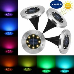 8x 8led solar powered disk lights outdoor
