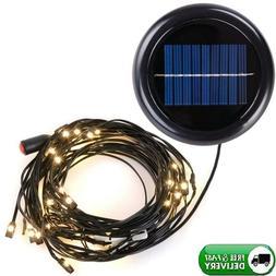 9 Ft 8 Rib Offset Patio Elliptic Umbrella Solar String Light
