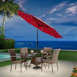 9' LED Solar Powered Patio Umbrella Outdoor Parasol Market w