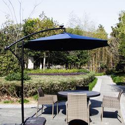 9' Outdoor Patio Umbrella LED Lighted Solar Powered Umbrella