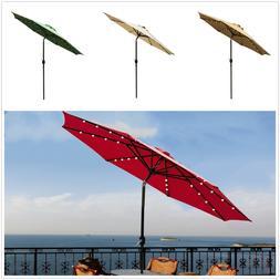 9'Patio Solar Powered Umbrella LED Patio Market Garden Beach